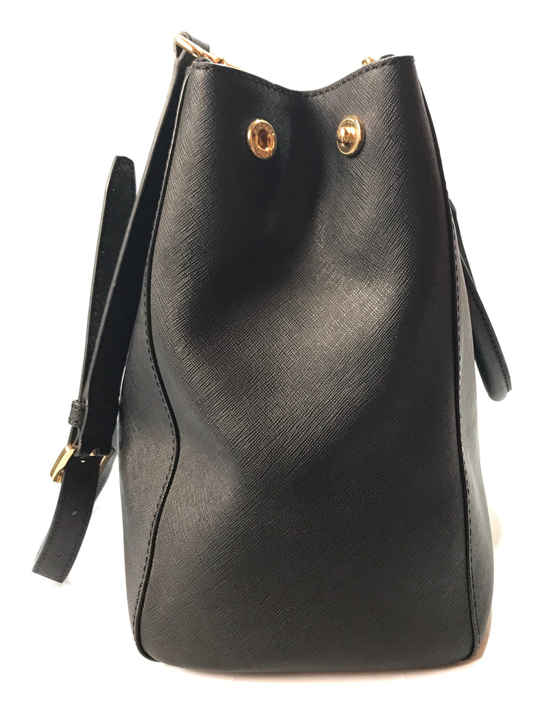 Michael Kors Black Saffiano Jet Set Leather Bag | Gently Used |