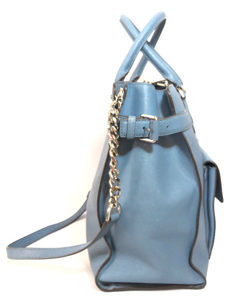 Michael Kors Light Blue Leather Saffiano Shoulder Bag | Pre Loved |