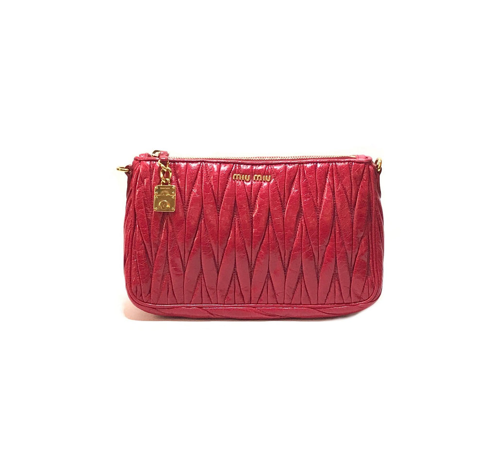 Miu Miu Cherry 'Matelasse Lux' Shoulder Bag | Brand New |