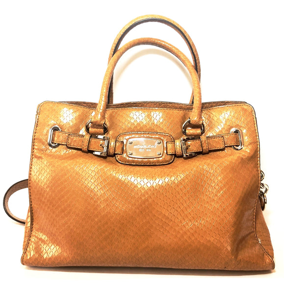 Michael Kors Hamilton East West Tan Snakeskin Satchel | Pre Loved |