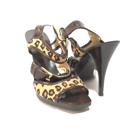 Michael Kors Leopard Print Calf Hair Multi Strap Heels | Gently Used |