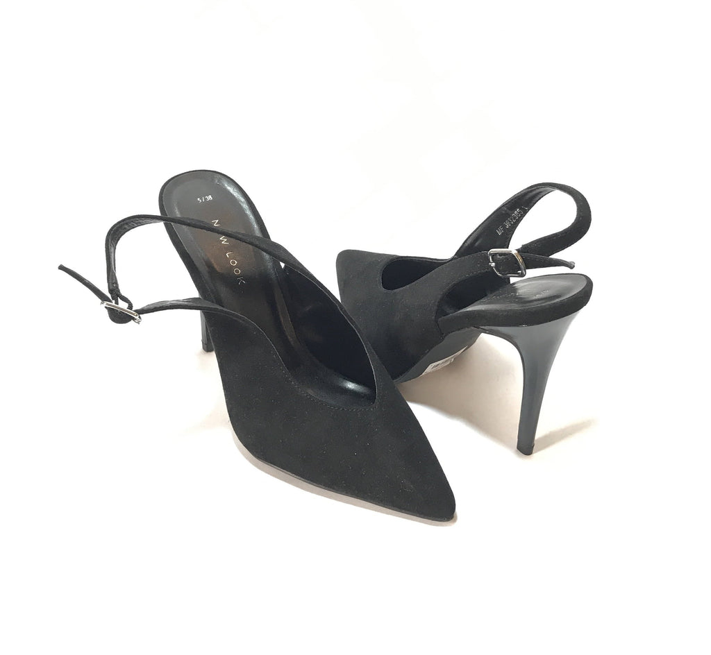 NEW LOOK Black Pointed Suede Sling Back Mules | Brand New |