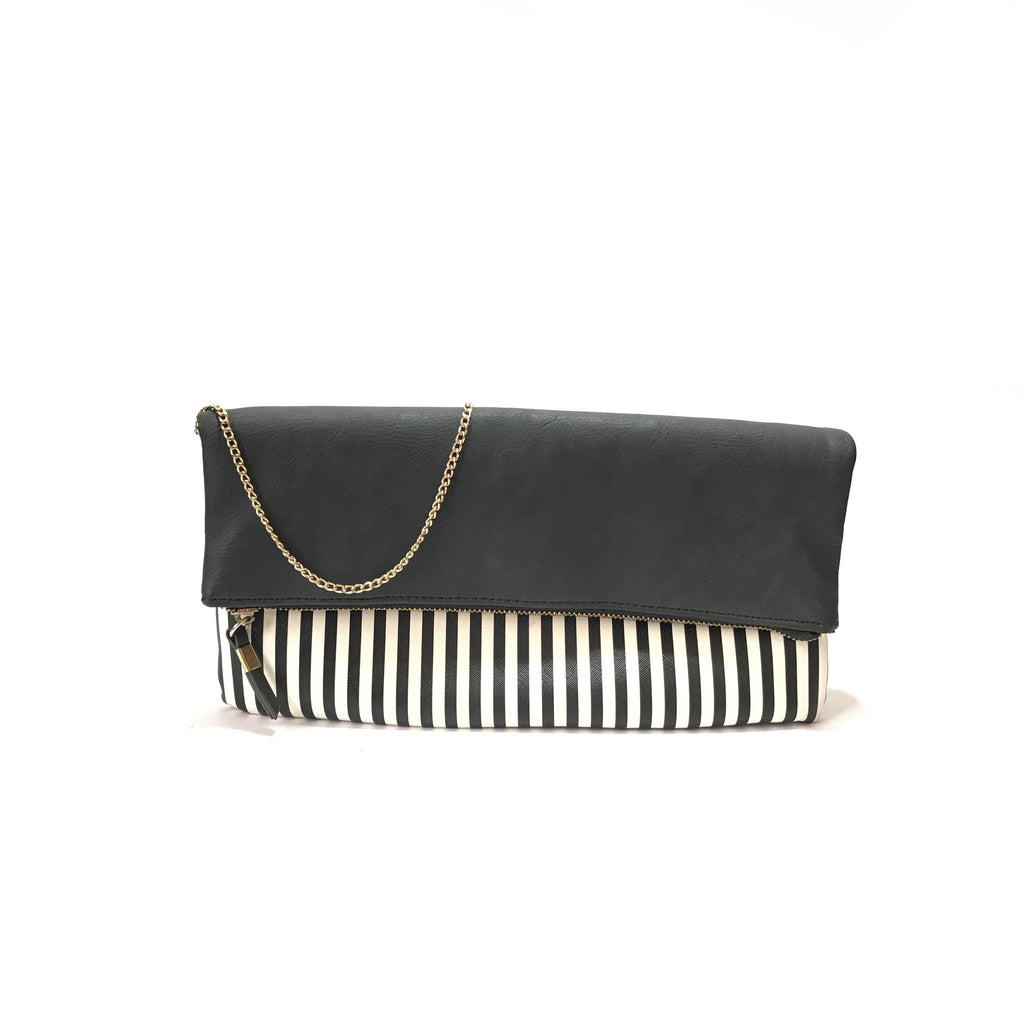 New Look Black & White Striped Clutch  | Gently Used |