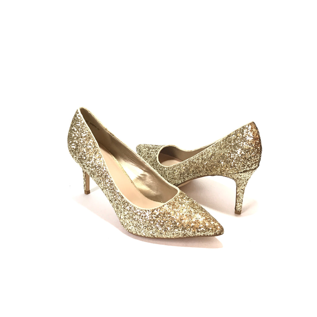 New Look Gold Glitter Sequins Pointed Pumps | Brand New |