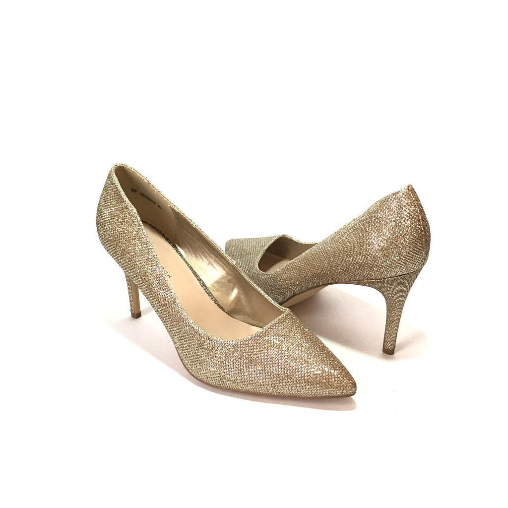 New Look Gold Glitter Pointed Pumps | Like New |
