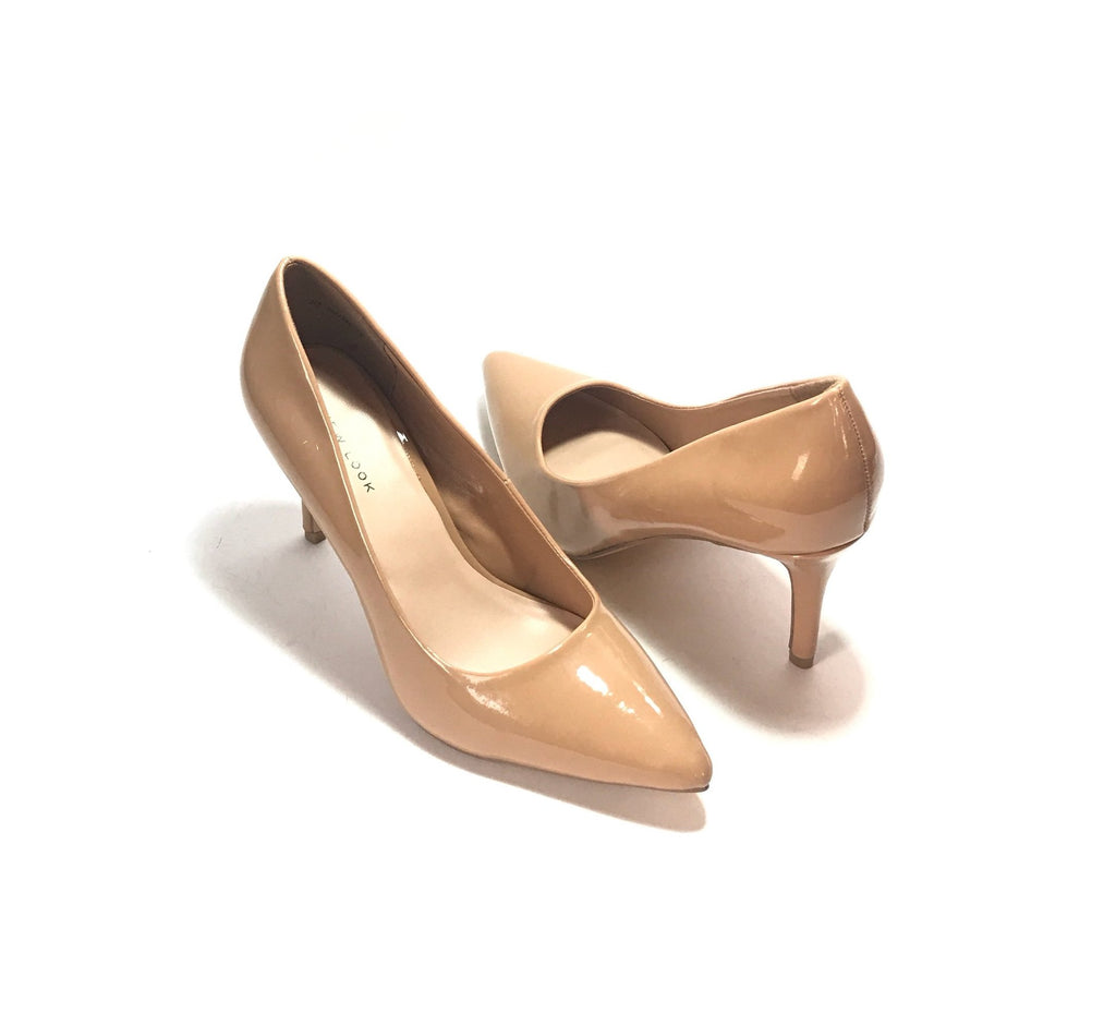 NEW LOOK Nude Patent Pointed Pumps | Brand New |