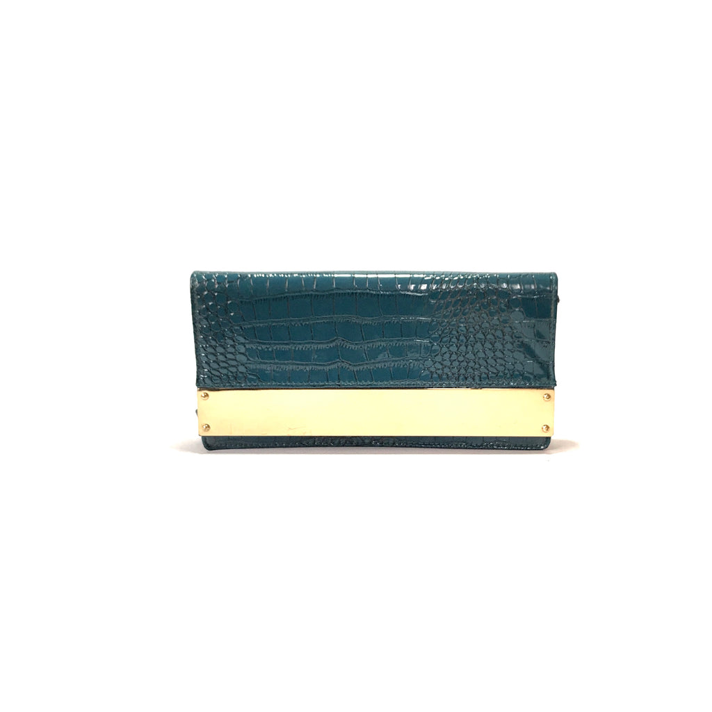 New Look Turquoise Croc Print Clutch | Gently Used |