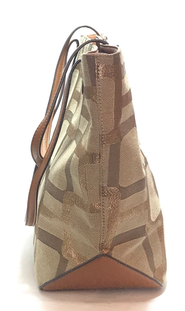 Nine West Beige Geometric Print Canvas Tote | Gently Used |