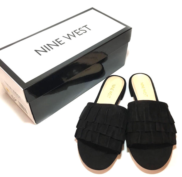 Nine West Black Suede Slide Sandals | Brand New |