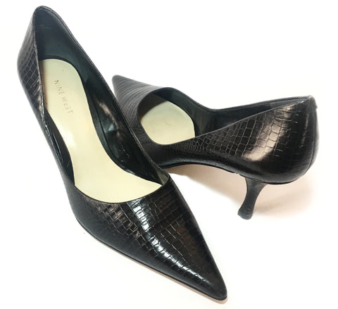 Nine West Black Croc Print Leather Pointed Heels | Pre Loved |