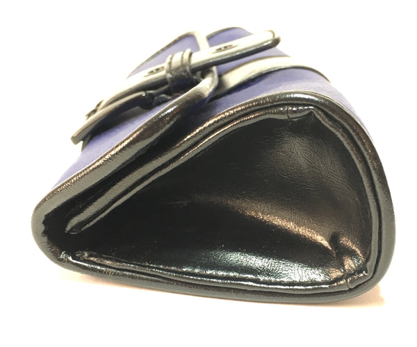 Nine West Cobalt Blue & Black Leather Trim Clutch | Gently Used |