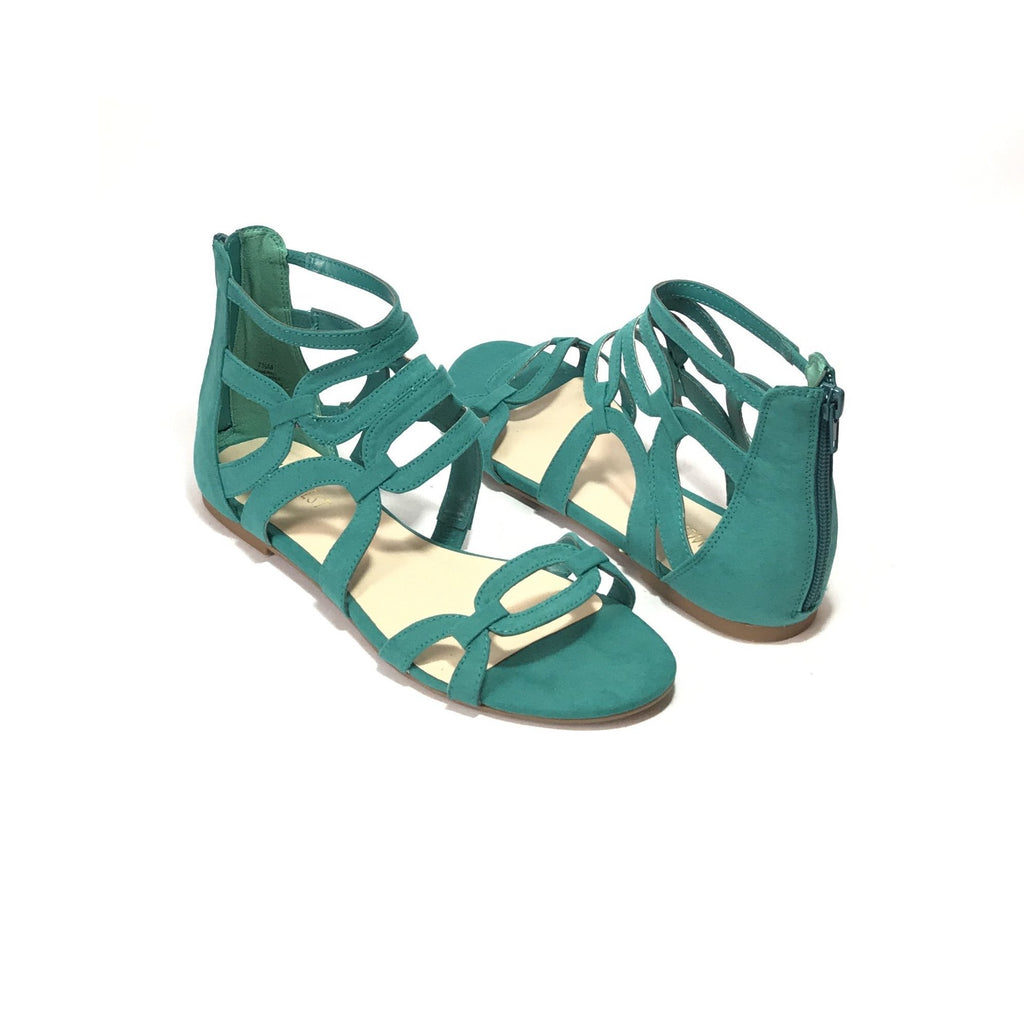 Nine West Teal Suede Zip Gladiator Sandals | Brand New |