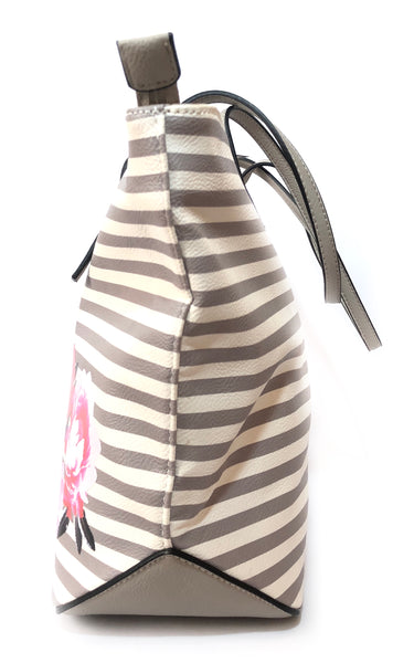 Nine West 'It Girl' Grey & White Striped Tote Bag | Brand New |
