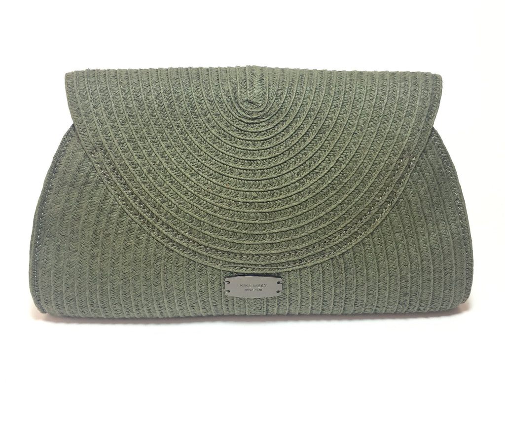 Nine West Olive Green Woven Clutch | Like New |