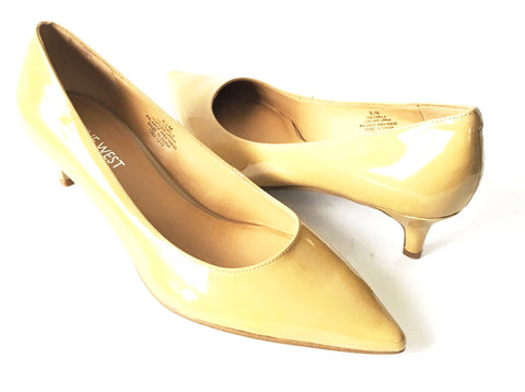 Nine West Tan Pointed Patent Kitten Heel Pumps | Brand New |