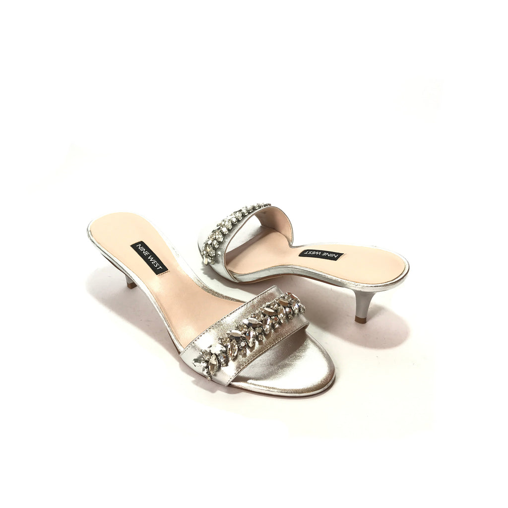 Nine West Rhinestone Silver Kitten Heels | Brand New |