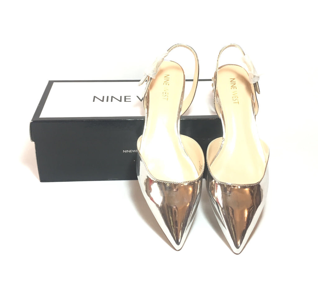 Nine West ALORAO Silver Pointed Patent Flats | Brand New |