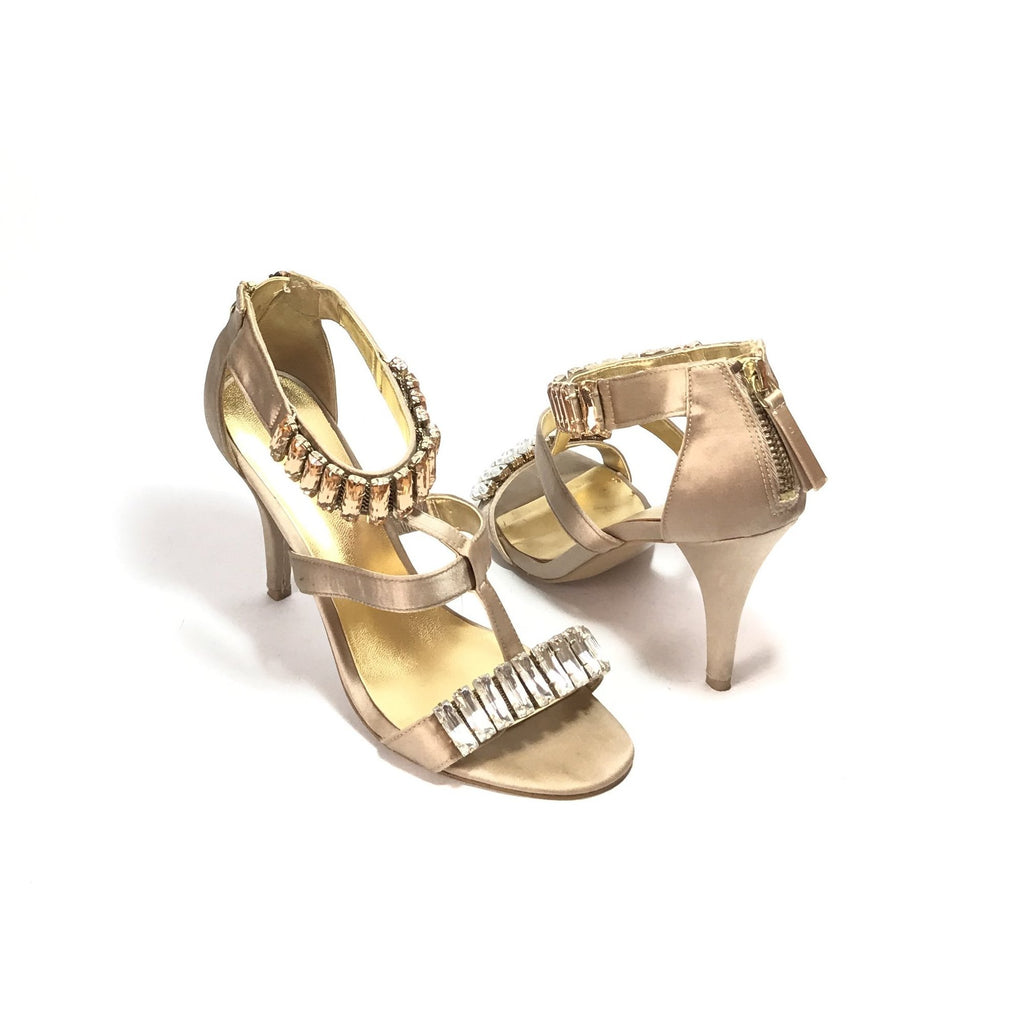 Nine West Taupe Satin Rhinestone Heels | Gently Used |
