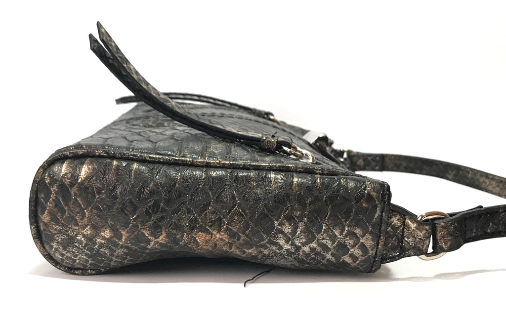Nine West Dark Grey & Bronze Snakeskin Cross Body Bag | Like New |