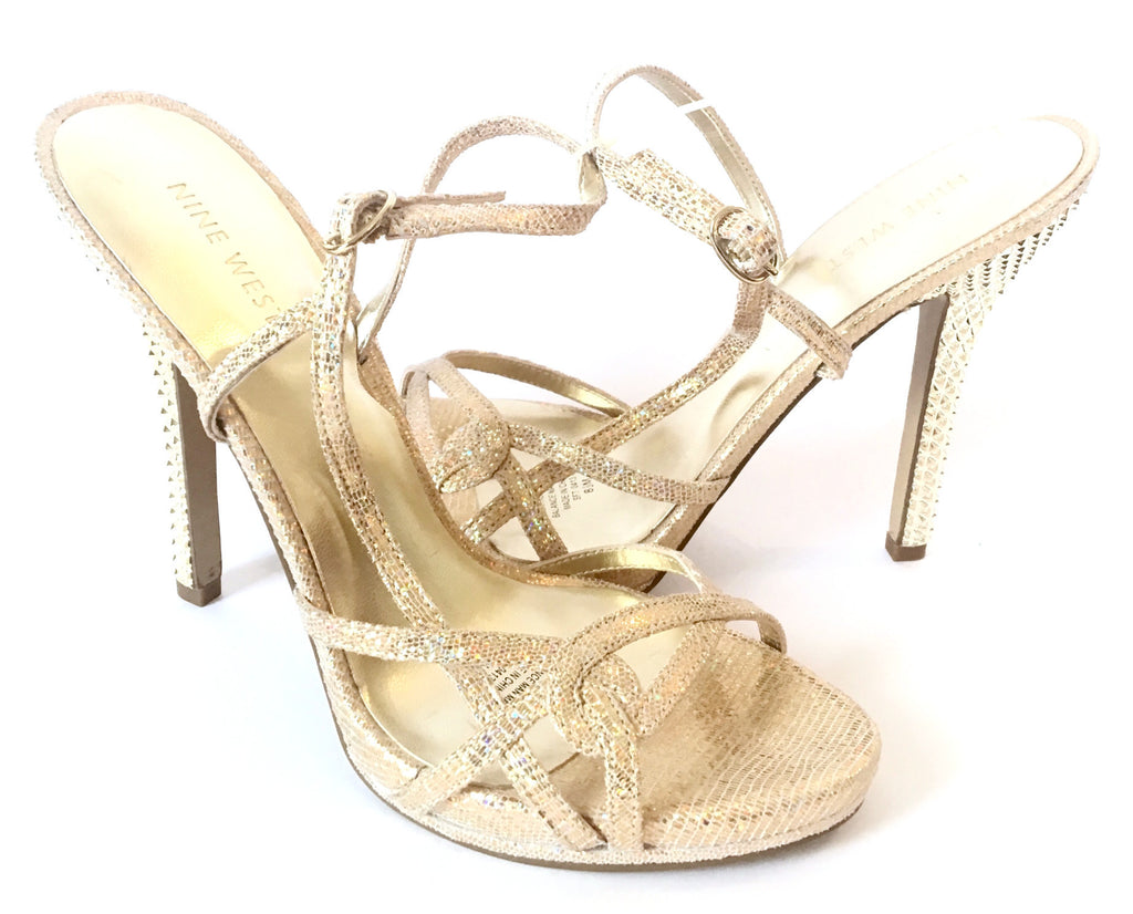 Nine West Gold Glitter Leather Heels | Brand New | - Secret Stash