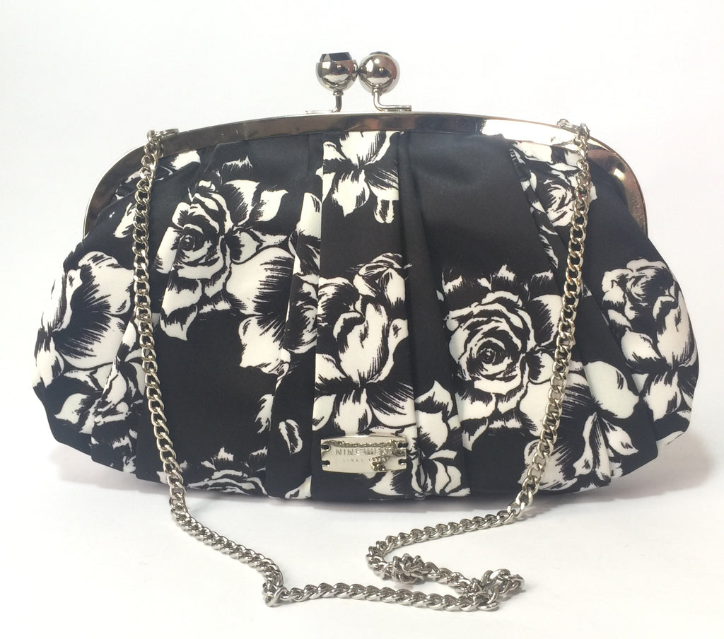 Nine West Black & White Floral 'Strawberry Fields' Clutch | Brand New |