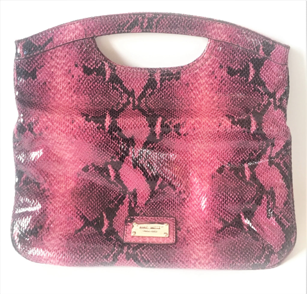 Nine West Fold Over Purple Snakeskin Clutch | Gently Used |