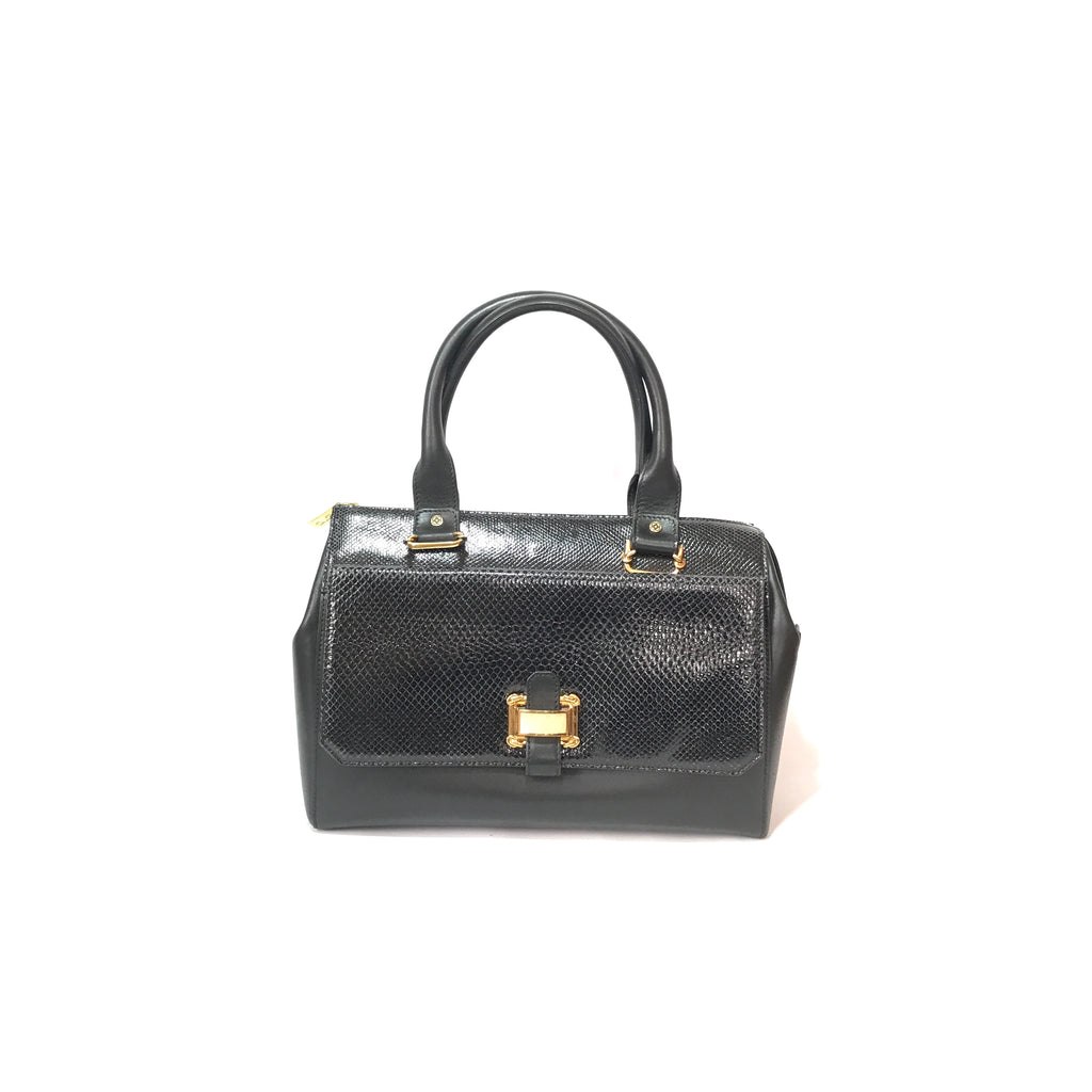 Oscar De La Renta Black Leather & Python Tote | Gently Used |