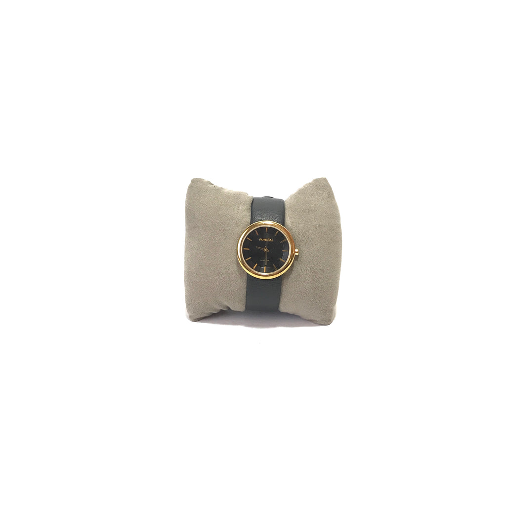 Pandora Black & Gold Leather Wrist Watch | Gently Used |