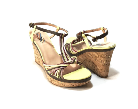 Paul Smith Multi Color Strappy Leather Wedges | Like New |