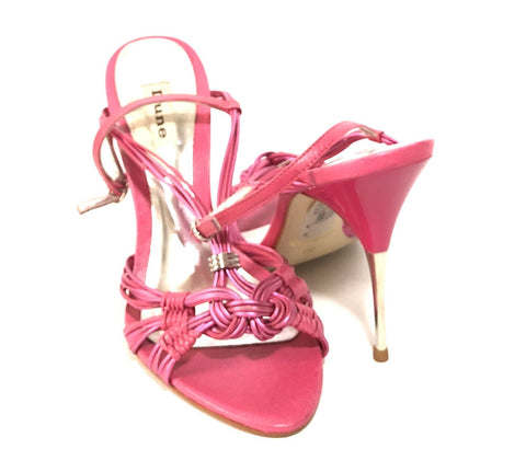 DUNE Fuchsia Knotted Leather Heels | Like New |