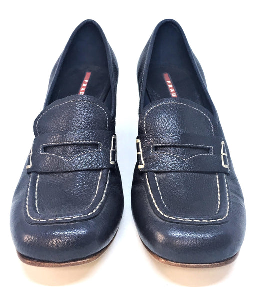 Prada Navy Blue Pebbled Leather Block Heels | Brand New |