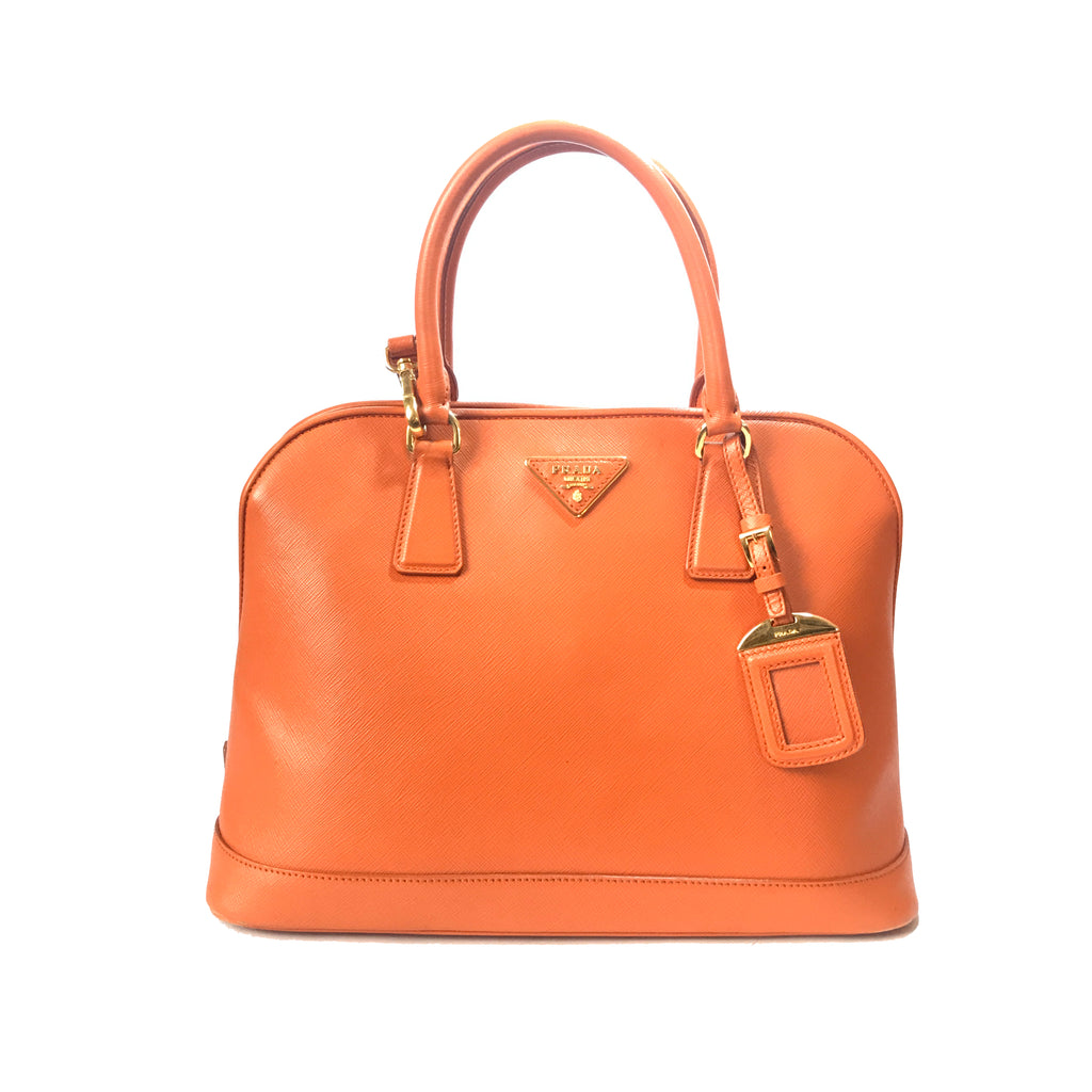 Prada Papaya Saffiano Lux Leather Tote | Pre Loved |