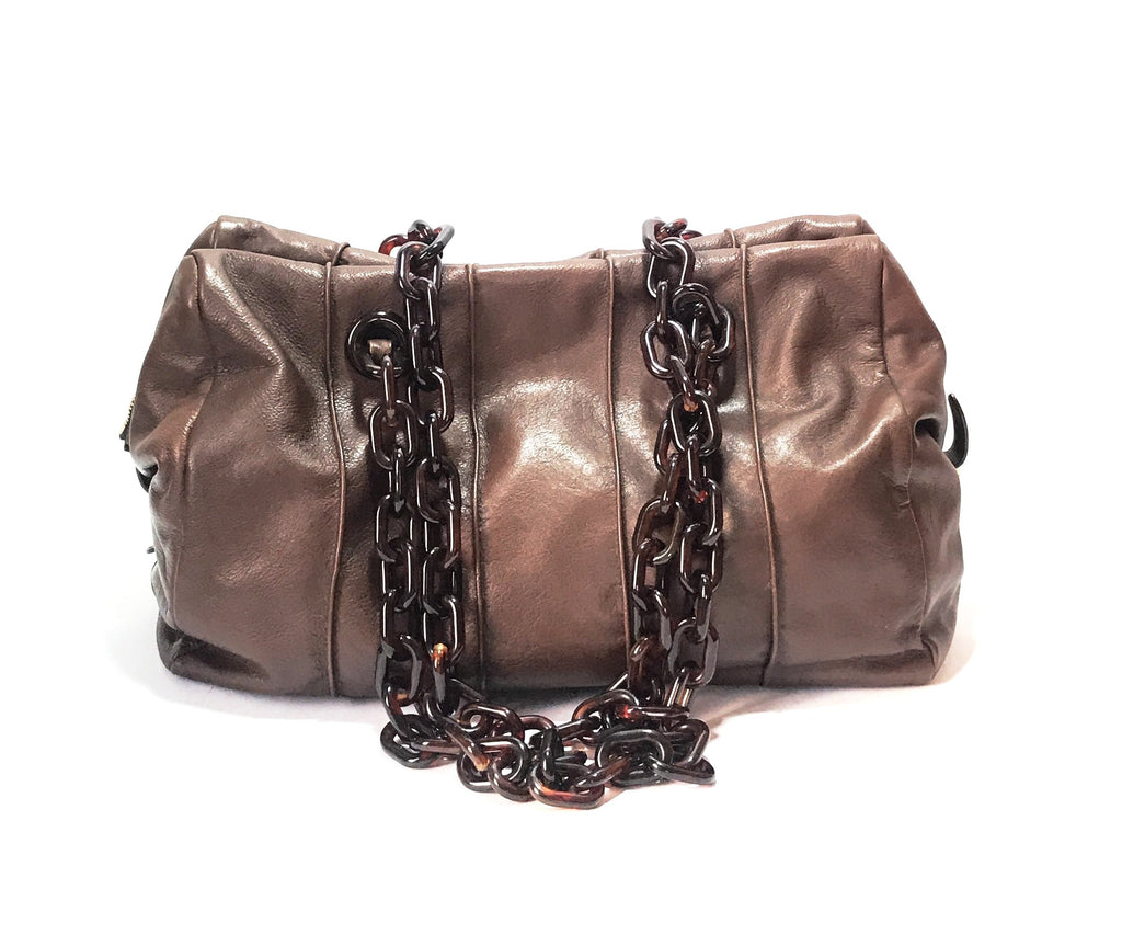 Prada Tan Leather & Plastic Chain Shoulder Bag | Gently Used |