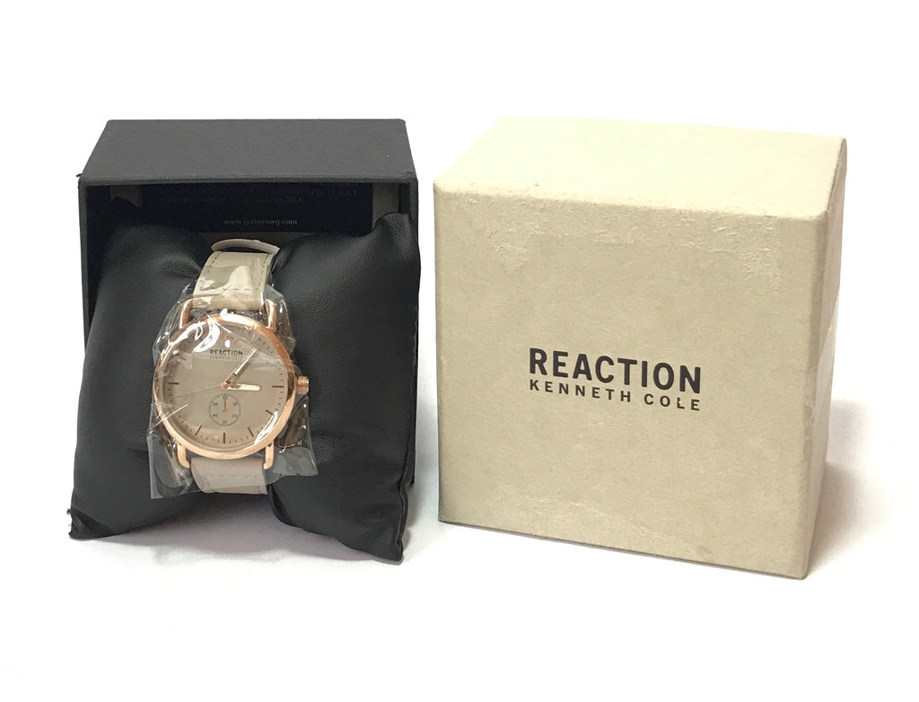 REACTION Kenneth Cole Grey Leather Wristwatch | Brand New |