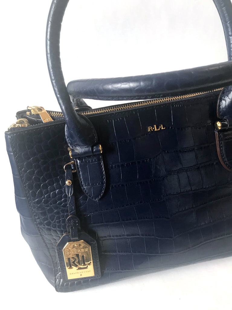 LAUREN Ralph Lauren Pebbled Leather Navy Tote | Gently Used |