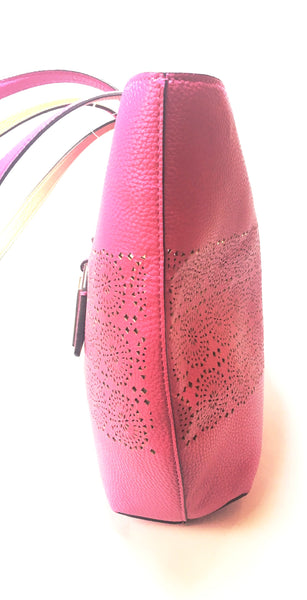 LAUREN Ralph Lauren Fuchsia Pebbled Faux Leather Reversible Tote | Brand New |