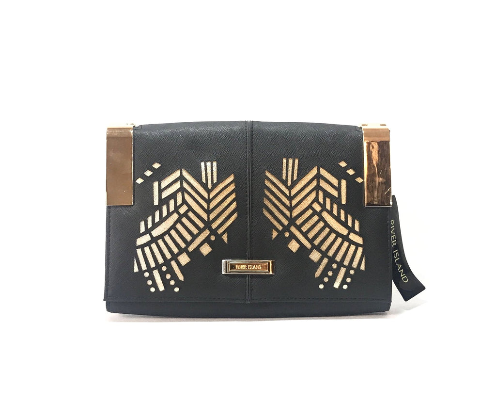 River Island Black & Gold 'Going Out' Clutch | Brand New |