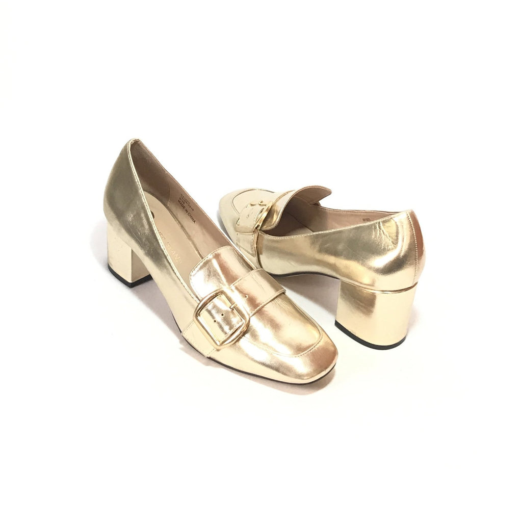 River Island Gold Block Heel Loafers | Pre Loved |