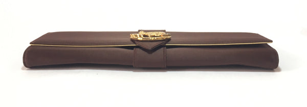 Roberto Cavalli Vintage Brown Satin Envelope Clutch | Pre Loved |