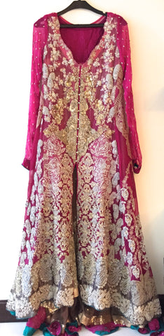 Sana Safinaz Pink & Gold Bridal Outfit | Gently Used | - Secret Stash