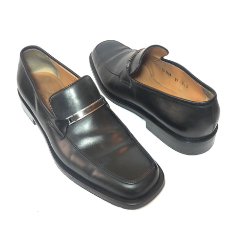 Salvatore Ferragamo Men's Black Leather Loafers | Pre Loved |