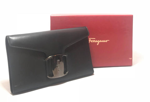 Salvatore Ferragamo Black Leather Envelope Wallet | Pre Loved |