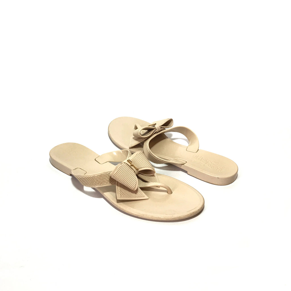Salvatore Ferragamo Bow 'Loto' Beige Jelly Sandals | Gently Used |