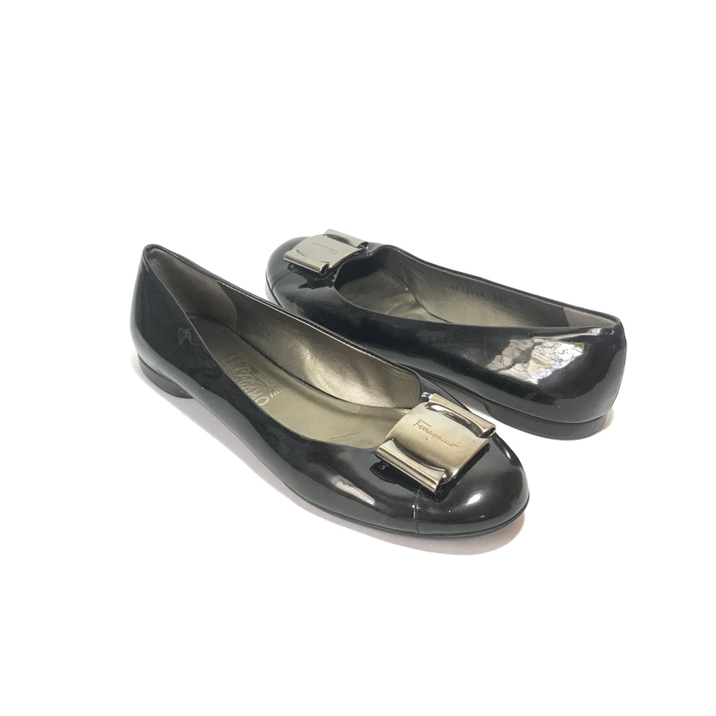Salvatore Ferragamo Fun Nero Patent Calf Ballet Flats | Pre Loved |