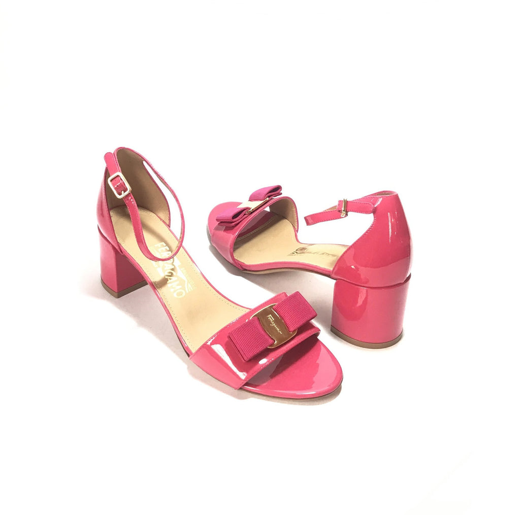 Salvatore Ferragamo 'Gavina' Pink Patent Leather Block Heels | Brand New |