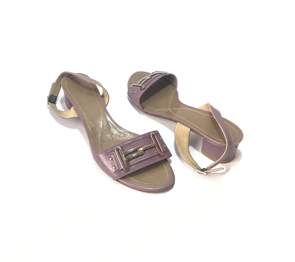 Salvatore Ferragamo Purple Leather Block Heels | Pre Loved |