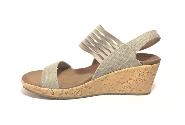 Sketchers Luxe Foam Grey Strappy Cork Wedges | Brand New |