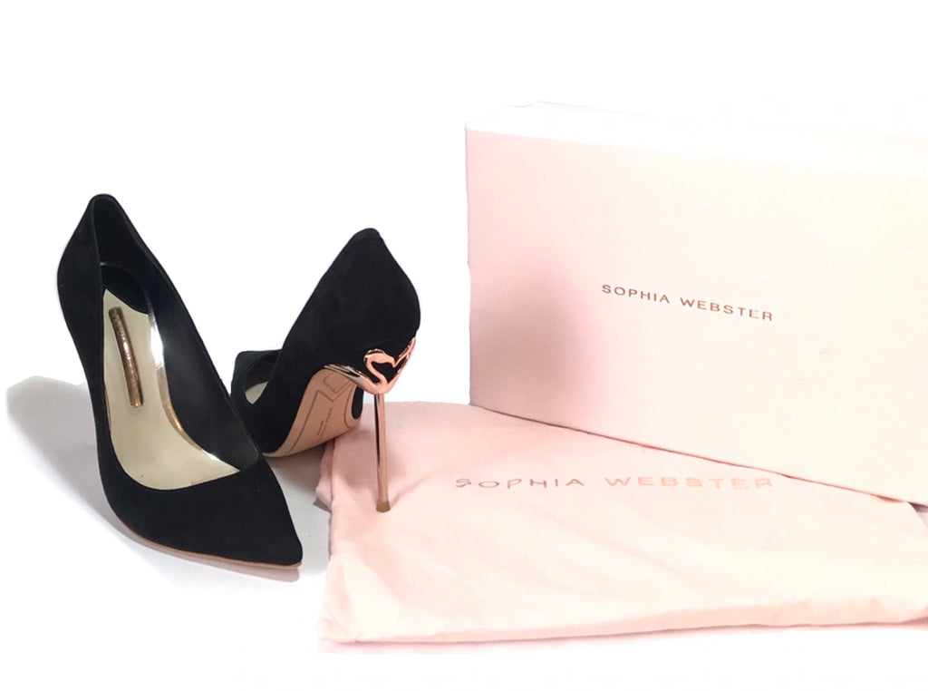 Sophia Webster Coco Flamingo Black Suede Heels | Gently Used |