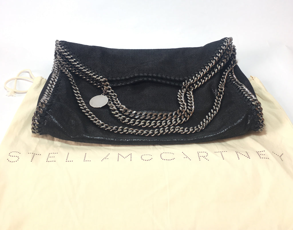 13038798f313 Stella McCartney Ruthenium Falabella Shiny Dotted Chamois Fold Over Tote