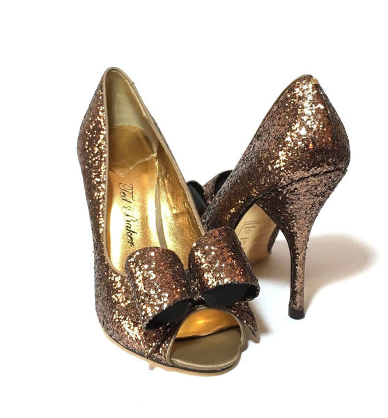 Ted Baker Bronze Glitter Bow Peep-toe Heels | Like New |